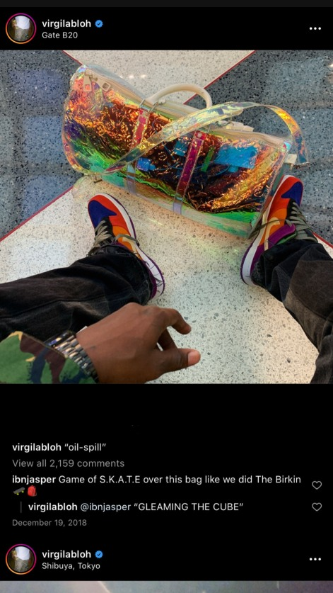 "Virgil Abloh wearing the Nike Dunk Low ""Viotechs"""